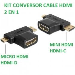 KIT CONVERSOR CABLE HDMI 2 EN 1. DE HDMI A MICRO HDMI Y MINI HDMI.