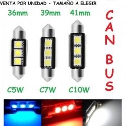Bombilla C5W C7W C10W 3 Led Can Bus Luz Coche Moto Matrícula