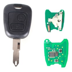 Llave Circuito Mando y Chip Transponder Citroen Peugeot 2 Botones Ref. S